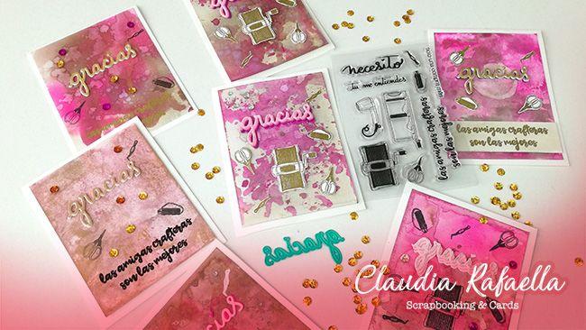 Tarjeta de agradecimiento Distress Ink con sellos y troqueles de Micaela Ferrero