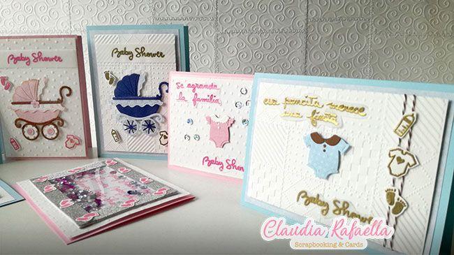 5ba415630aa15 Cuatro Invitaciones para Baby Shower con un solo set de sellos ...